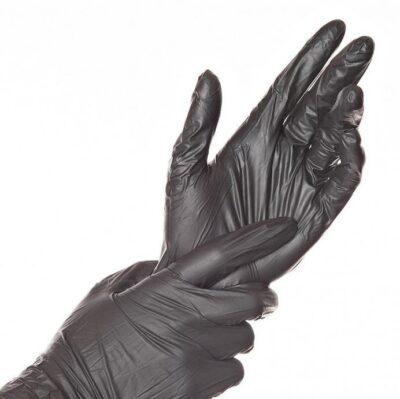 Einmalhandschuhe schwarz in Spenderbox